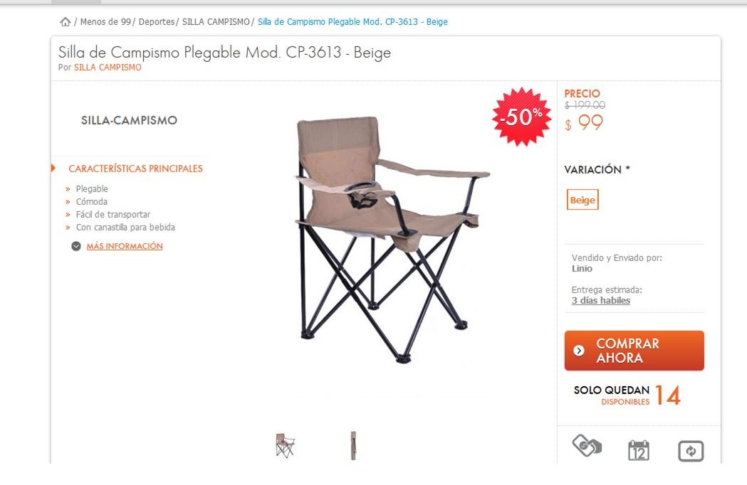 LINIO: Regresan las sillas de campismo a $99
