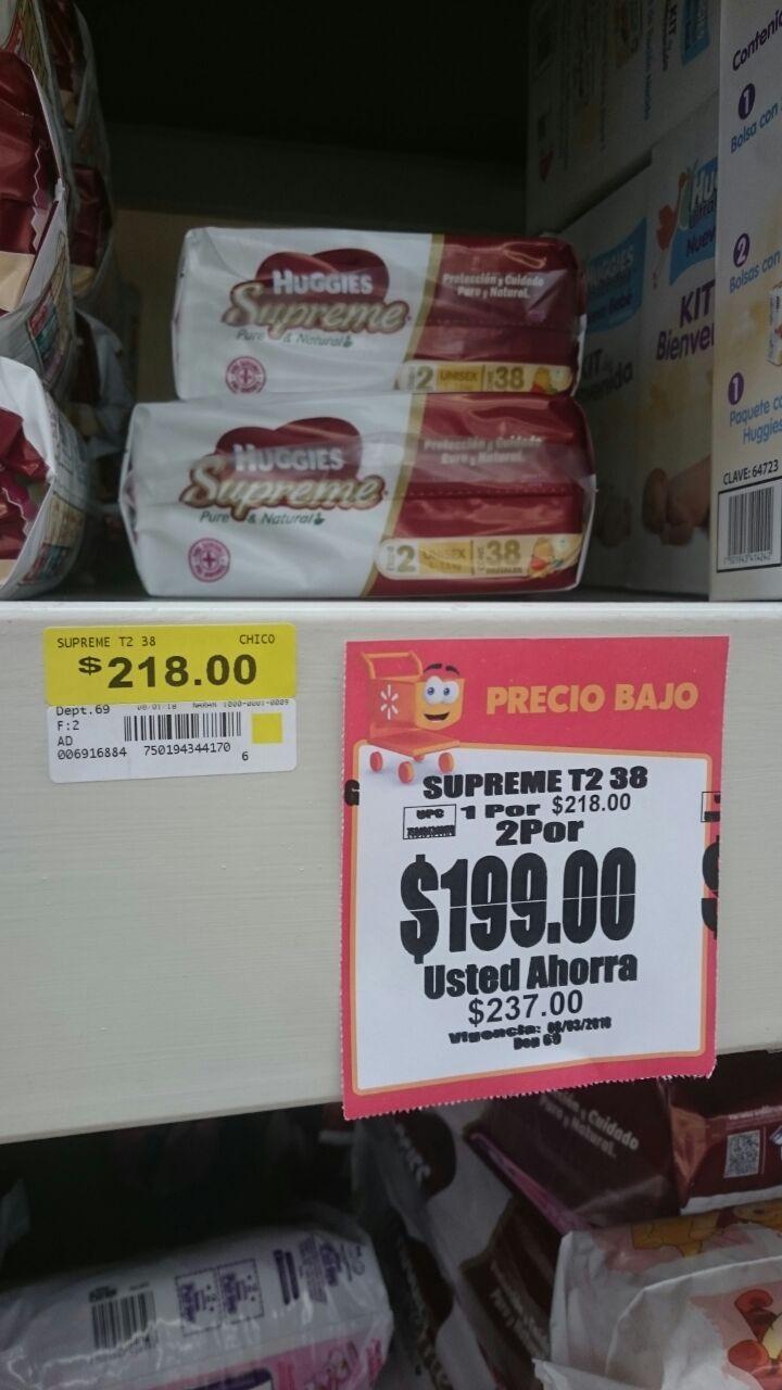 Walmart uruapan:2 paquetes de Pañales Huggies supreme etapa 1 y 2