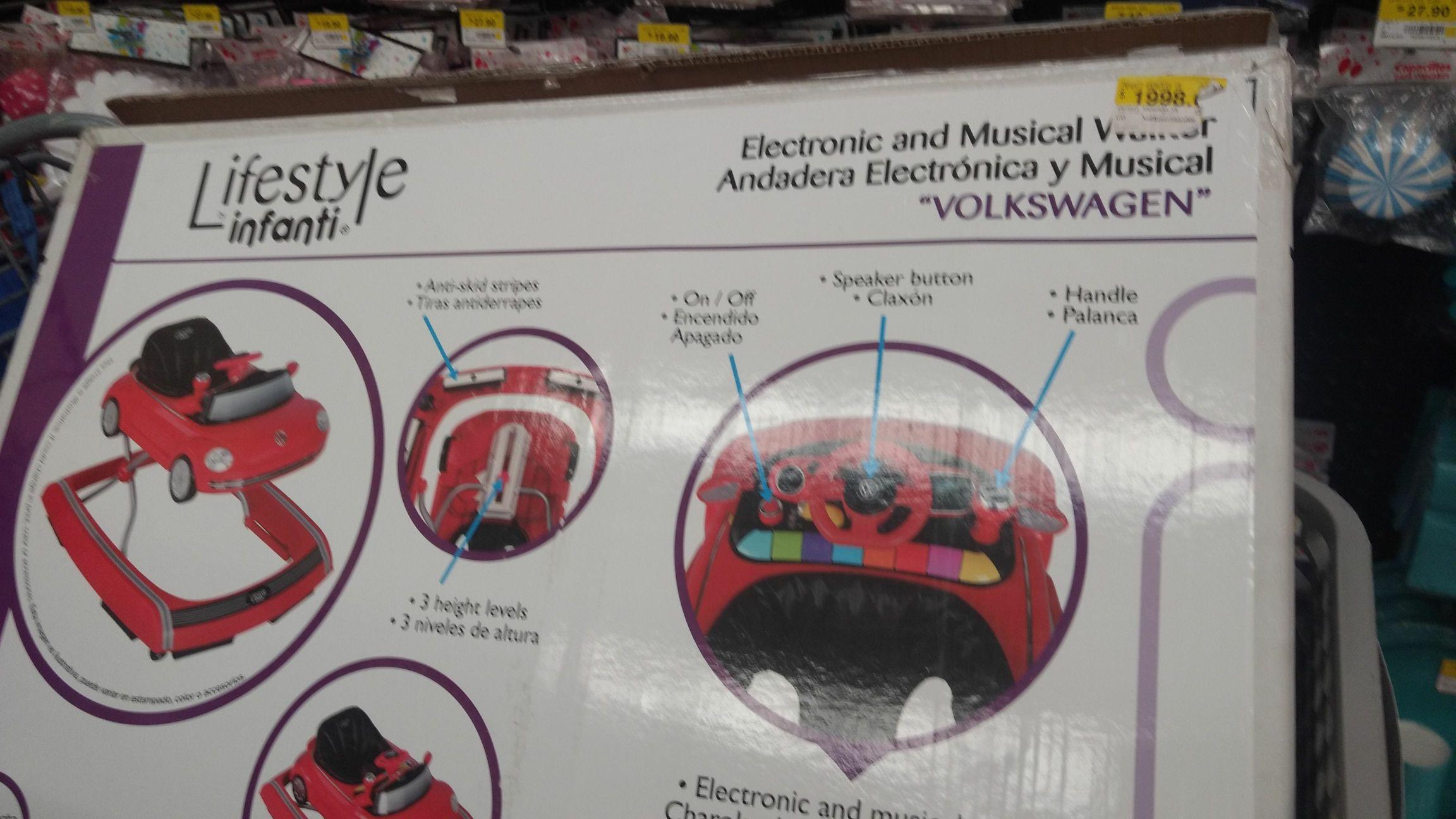 Walmart Copilco CdMx andadera musical de 1998 a 200.01