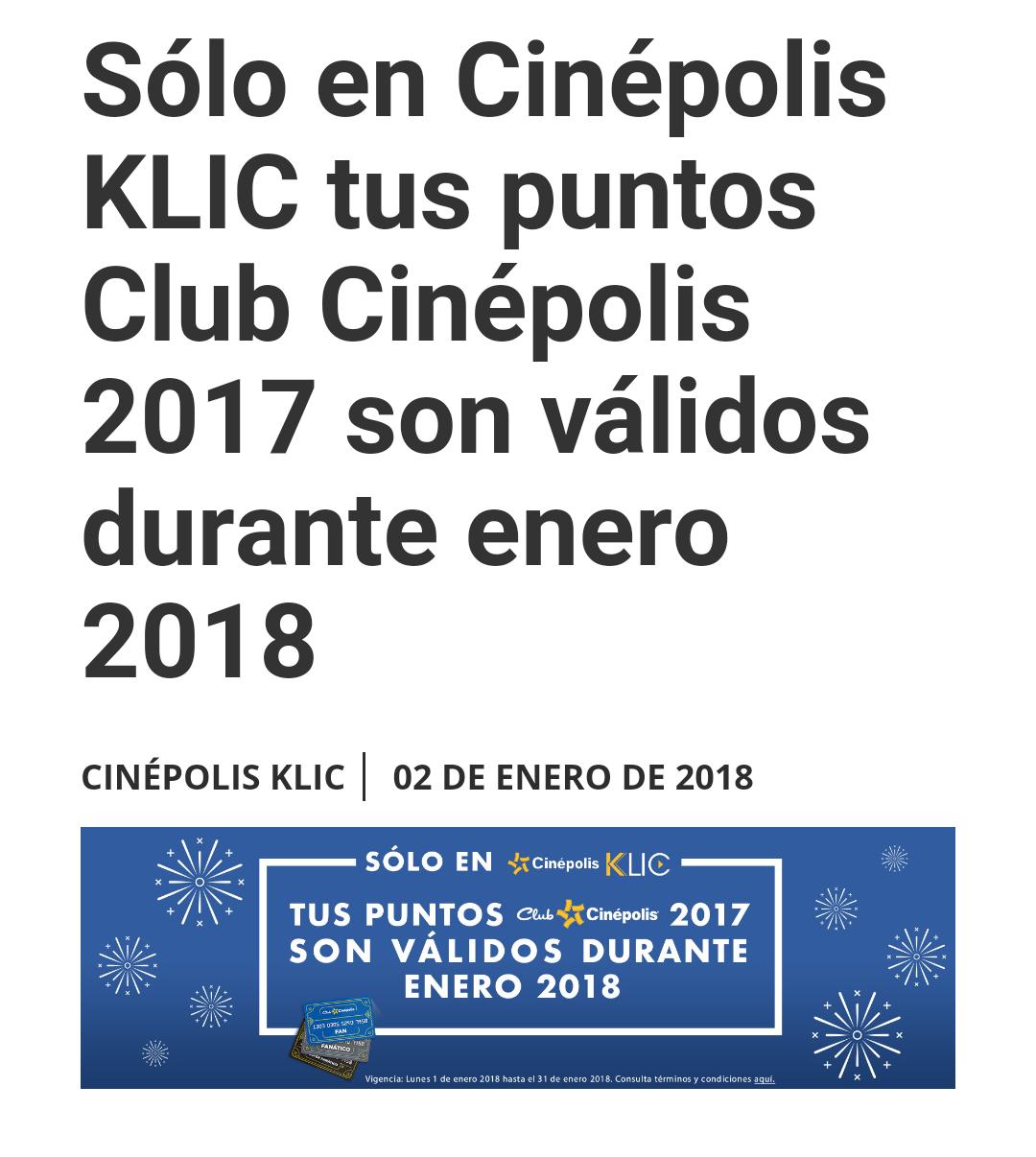 Cinépolis Klic: puntos Cinépolis 2017 con vigencia extendida