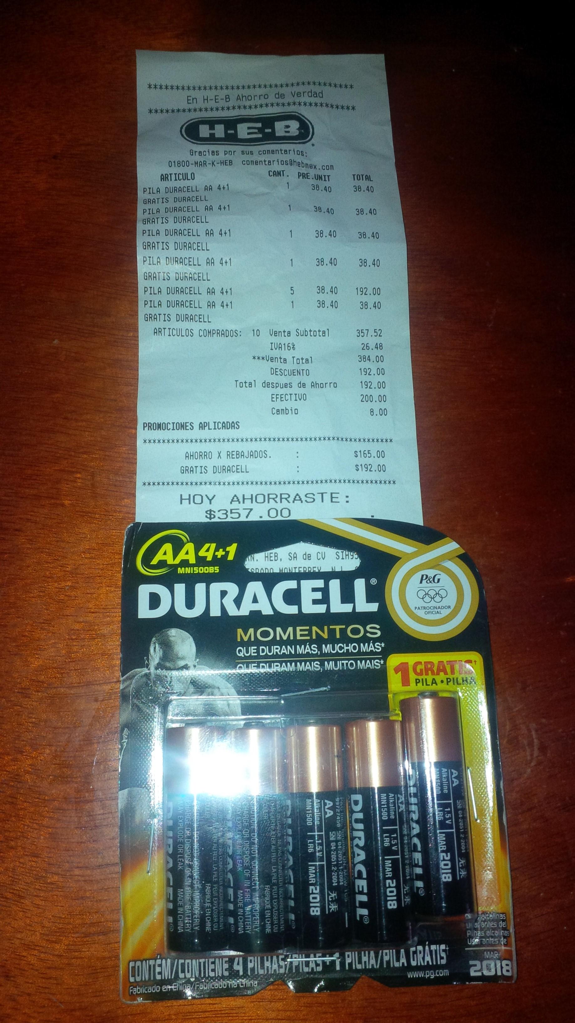 HEB: 2x1 en pilas Duracell (5 Piezas AA $19.20)
