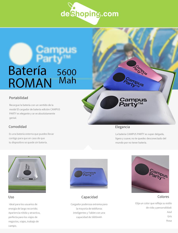 Deshoping.com: batería externa de 5600mAh edición Campus Party $299