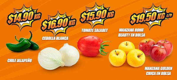 Chedraui: MartiMiércoles de FrutiVerduras 16 y 17 Enero: Chile Jalapeño $14.90 kg... Tomate Saladet $15.90 kg... Cebolla Blanca $16.90 kg... Manzana Golden Chica en Bolsa $19.50 kg.