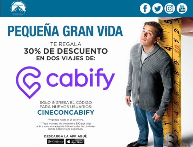 Cabify: 30% de descuento en 2 Viajes (Usuarios Nuevos)