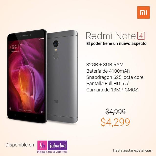 Suburbia: XIAOMI Redmi Note 4 en Oferta