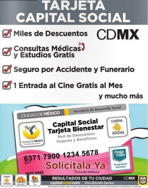 Boletos de cine, café, seguro de vida, análisis clínico gratis y + con tarjeta Capital Social DF (es gratis)