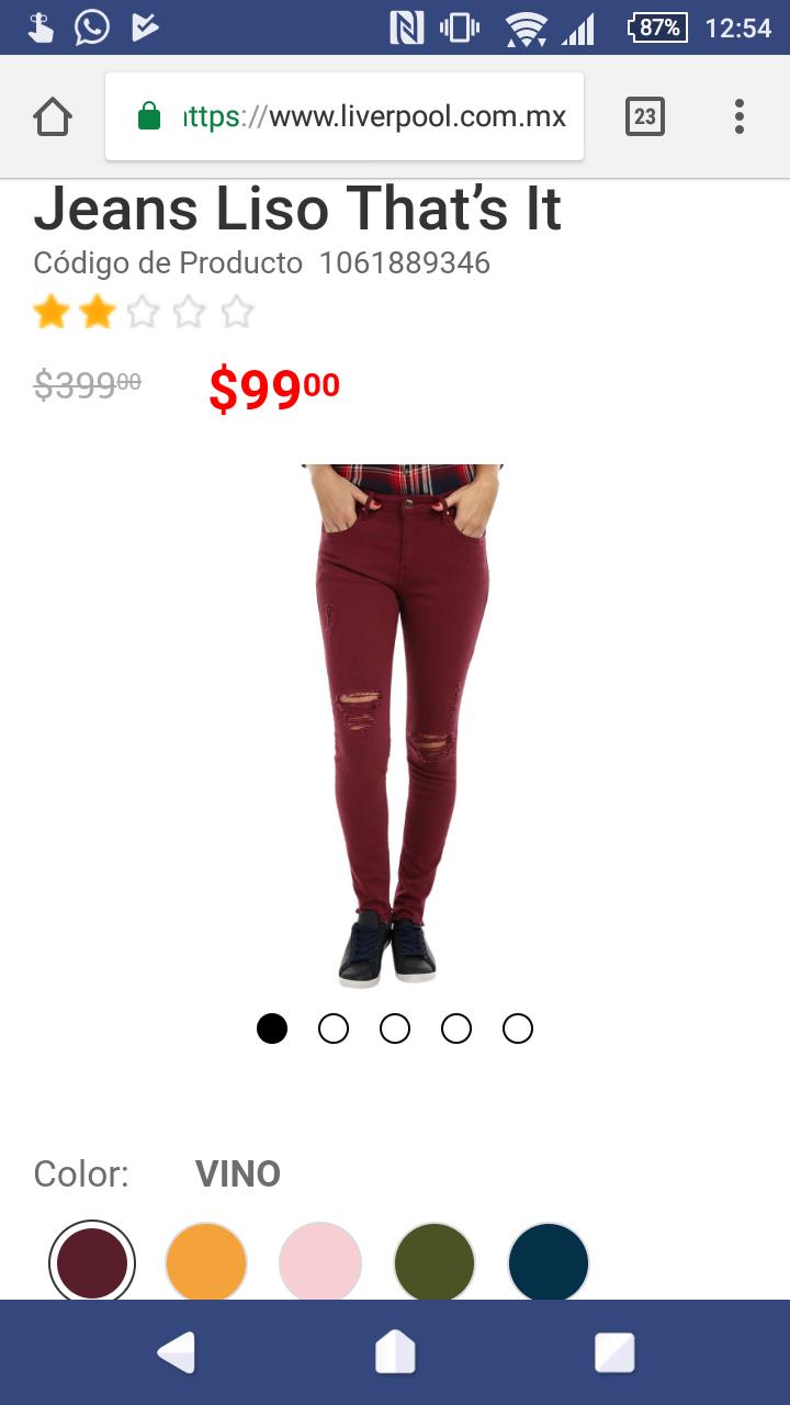 Liverpool online: Jeans mujer de diferentes colores