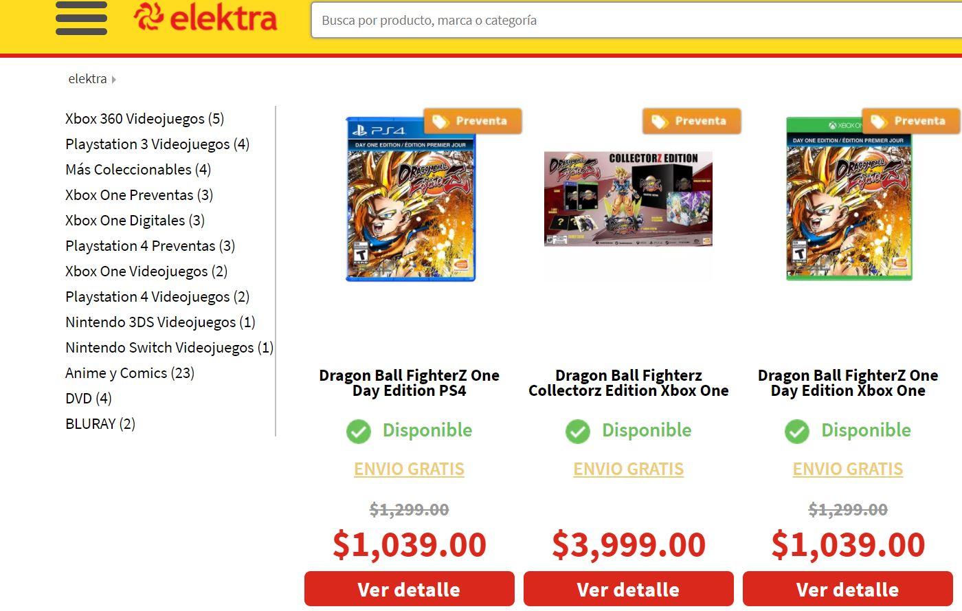 Elektra: Dragon Ball FighterZ One Day Edition PS4 o One pagando con Mercadopago