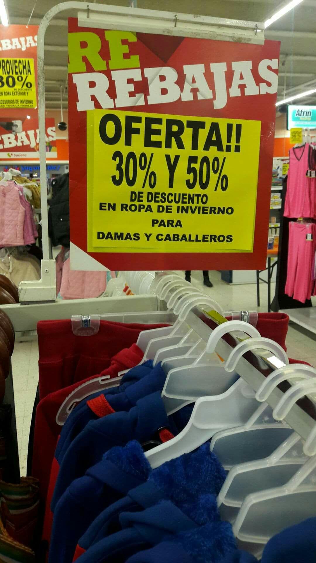 Soriana Buenavista: Varias prendas como chamarras, abrigos, chalecos con 30% o 50% de descuento