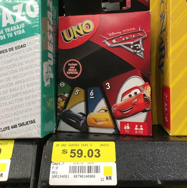 Walmart: Juego UNO modelo de Cars 3 en $59.03