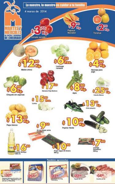 Ofertas de frutas y verduras en Chedraui marzo 4 y 5: toronja $2.90 el kilo y más