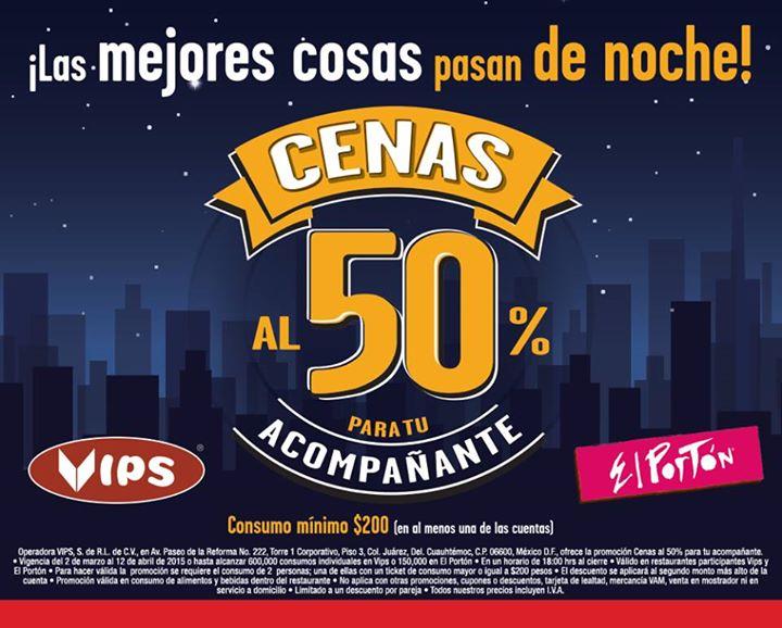 Restaurantes Vips y El Portón: 50% de descuento para el acompañante después de las 6