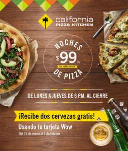 California Pizza Kitchen: dos cervezas gratis en la compra de primera pizza