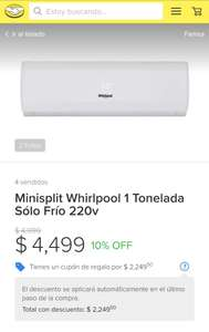 Tienda Famsa en Mercado Libre: Minisplit Whirlpool 1 Tonelada Sólo Frío 220v