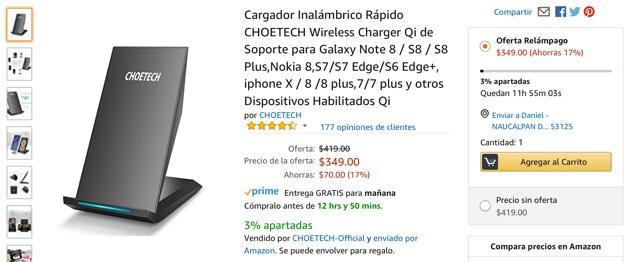 Amazon: OFERTA RELÁMPAGO: Cargador Inalámbrico Rápido CHOETECH Wireless Charger Qi de Soporte para Galaxy Note 8 / S8 / S8 Plus,Nokia 8,S7/S7 Edge/S6 Edge+, iphone X / 8 /8 plus y otros Dispositivos Habilitados Qi