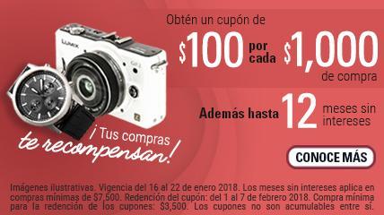 Nacional Monte de Piedad: outlet de electrónica, cupón de $100 por cada $1,000 de compra más 12MSI