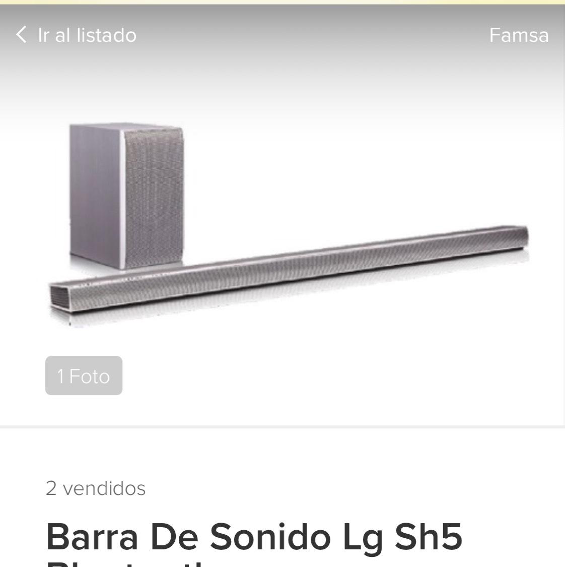 Tienda Famsa en MercadoLibre: Barra de sonido LG SH5 320W    $2002