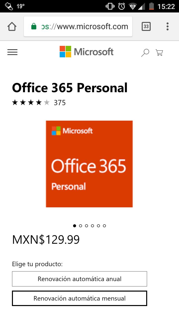 Microsoft Store: Office 365 Personal (suscripción mensual)