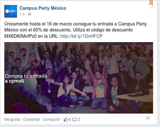 Campus Party Mexico 2015: Cupon de 60% de descuento comprando antes del 16 de marzo