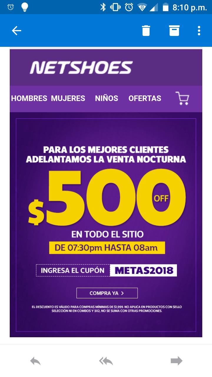 NetShoes: Cupón para $500 de descuento en compras de $1999
