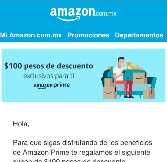 Amazon: Cupón de $100 pesos para nuevos usuarios Prime