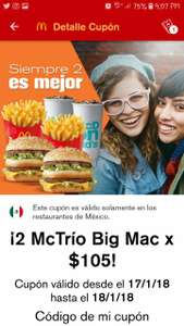 McDonald's App: Dos Mc Trío Big Mac