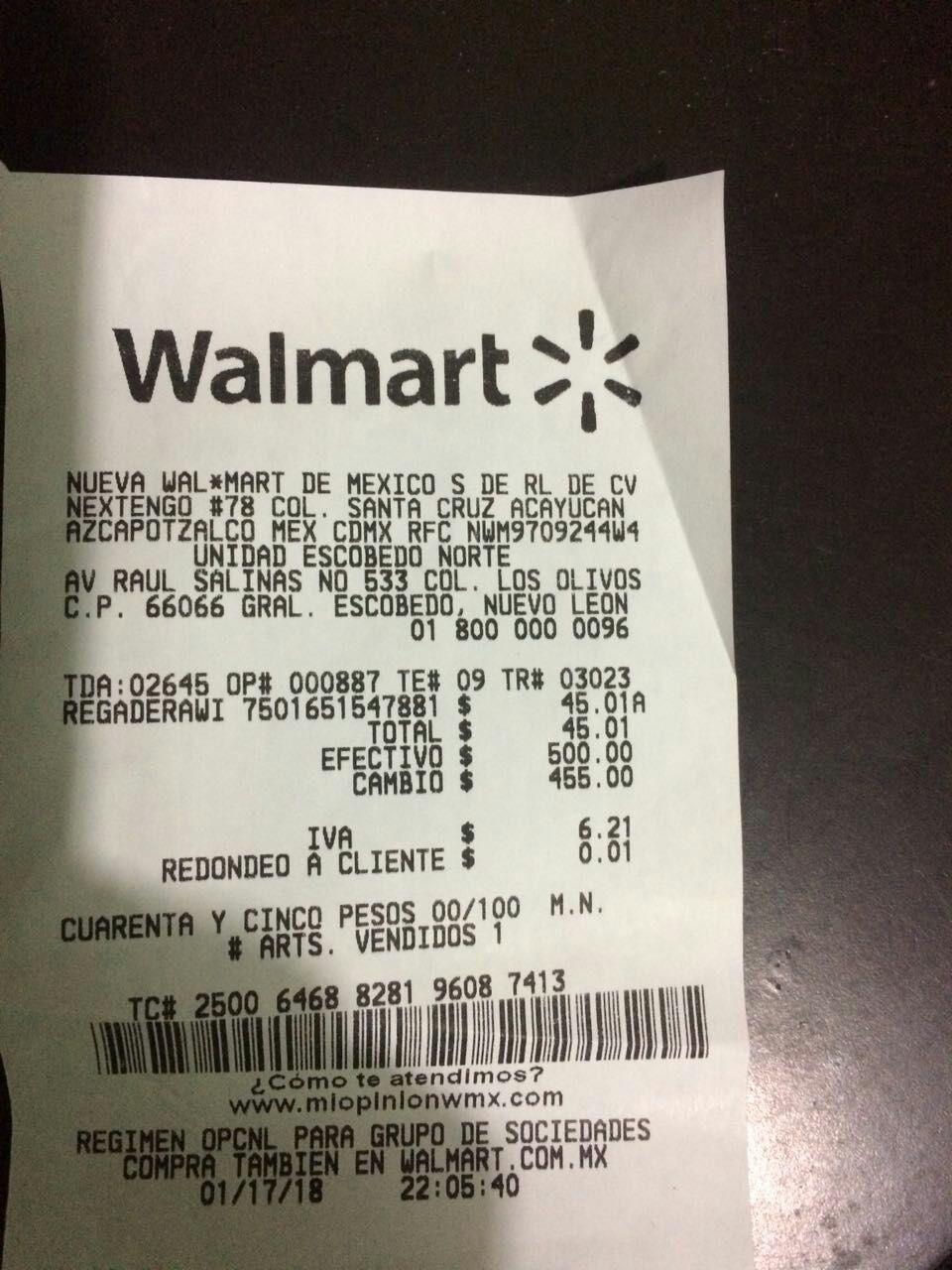 Walmart Escobedo Nte: liquidación de Regadera manual