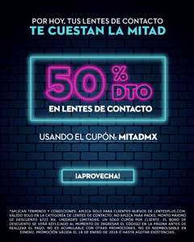 Lentesplus: Hoy Lentes de contacto al 50% de descuento!