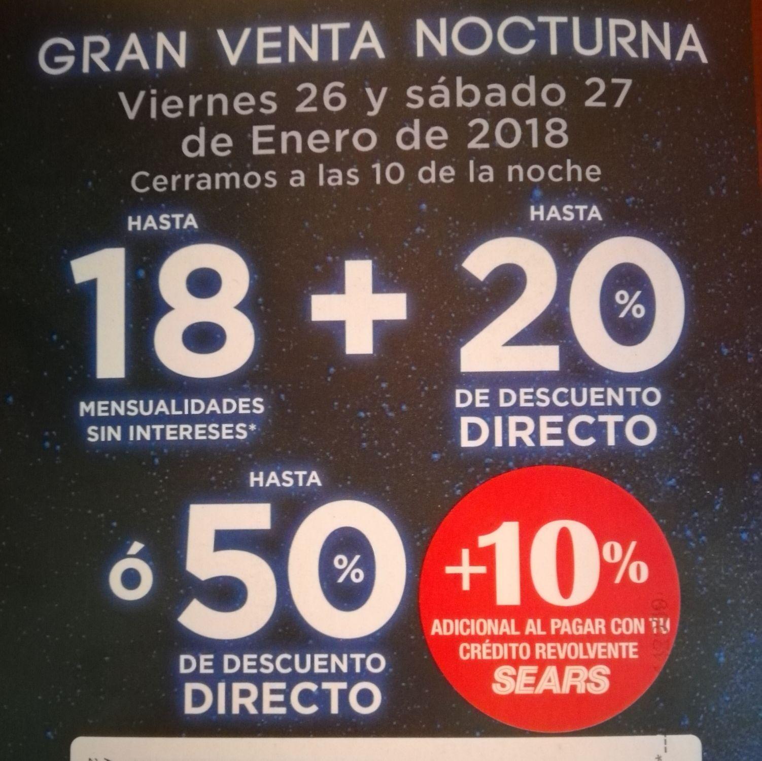 Sears: Venta nocturna  26 y 27 de enero del 2018