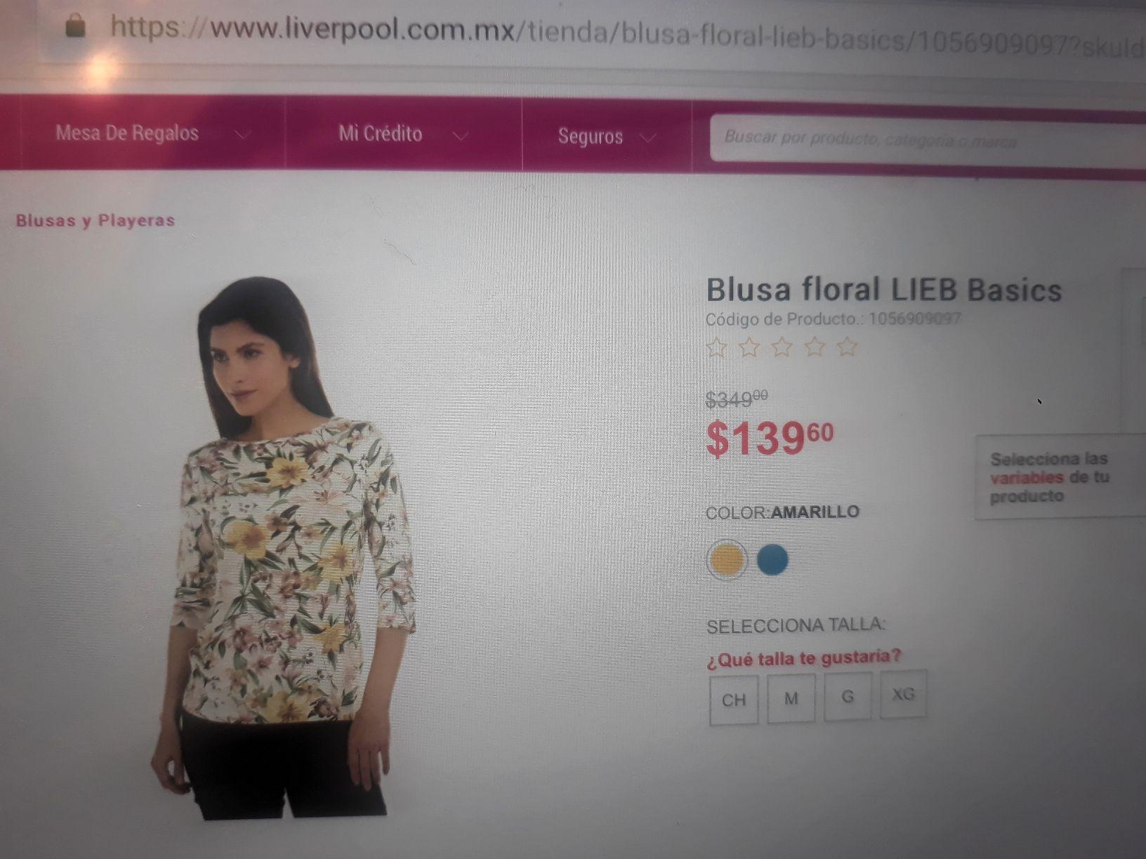 Liverpool: Blusa Floral Lieb Basics varias tallas - internet descuentos ropa de dama