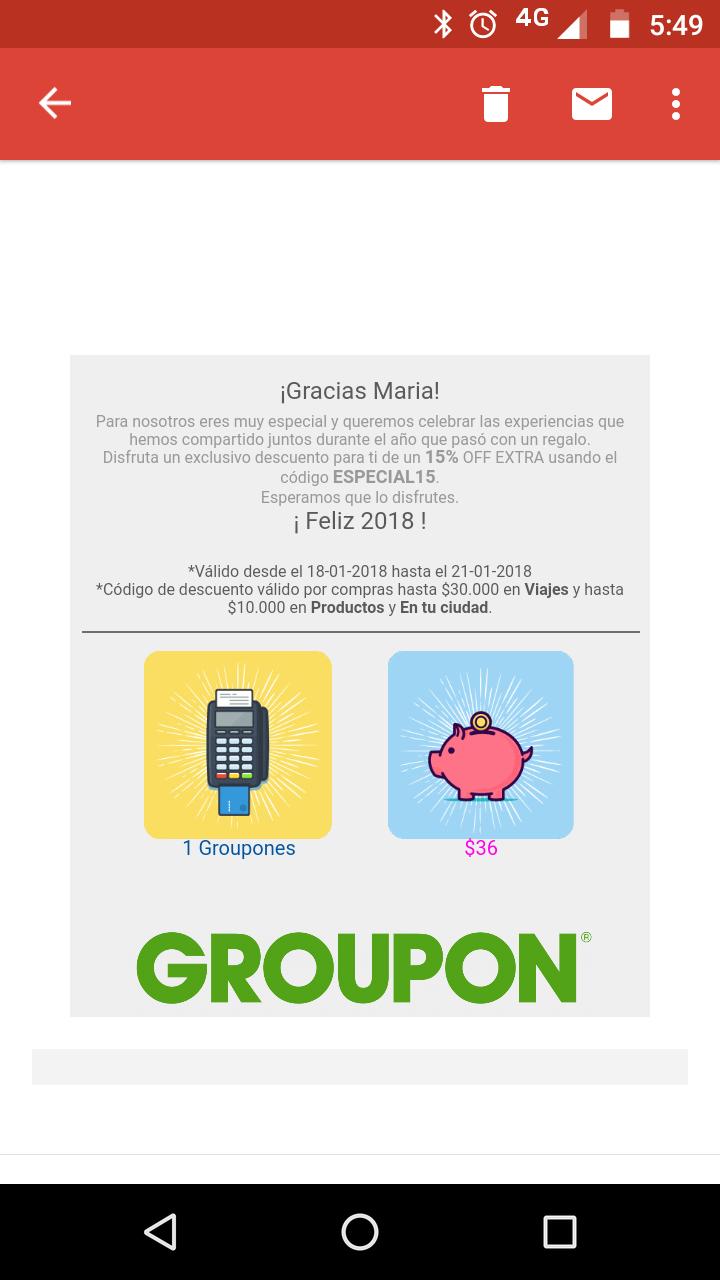 GROUPON: CUPON 15% MENOS GROUPON