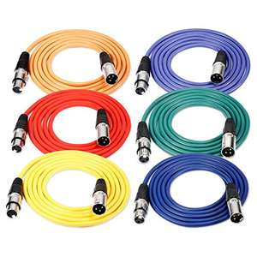Amazon: Neewer Pack de 6 piezas Cable de Audio 1 metro XLR macho a XLR hembra de micrófono Cables de Color (Verde, azul, púrpura, rojo, amarillo, Orange)
