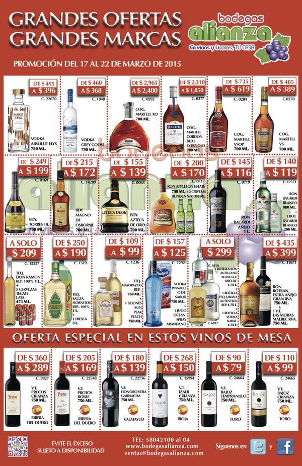 Bodegas Alianza: Bacardi blanco litro + pachita $119, Grey Goose $368 y más