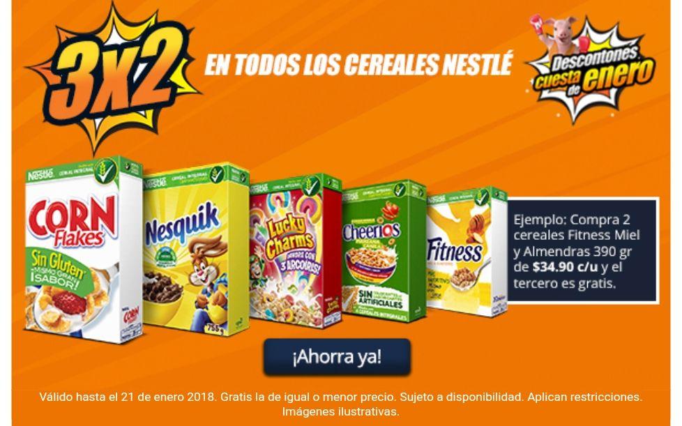 Chedraui.  3x2 en cereales Néstle