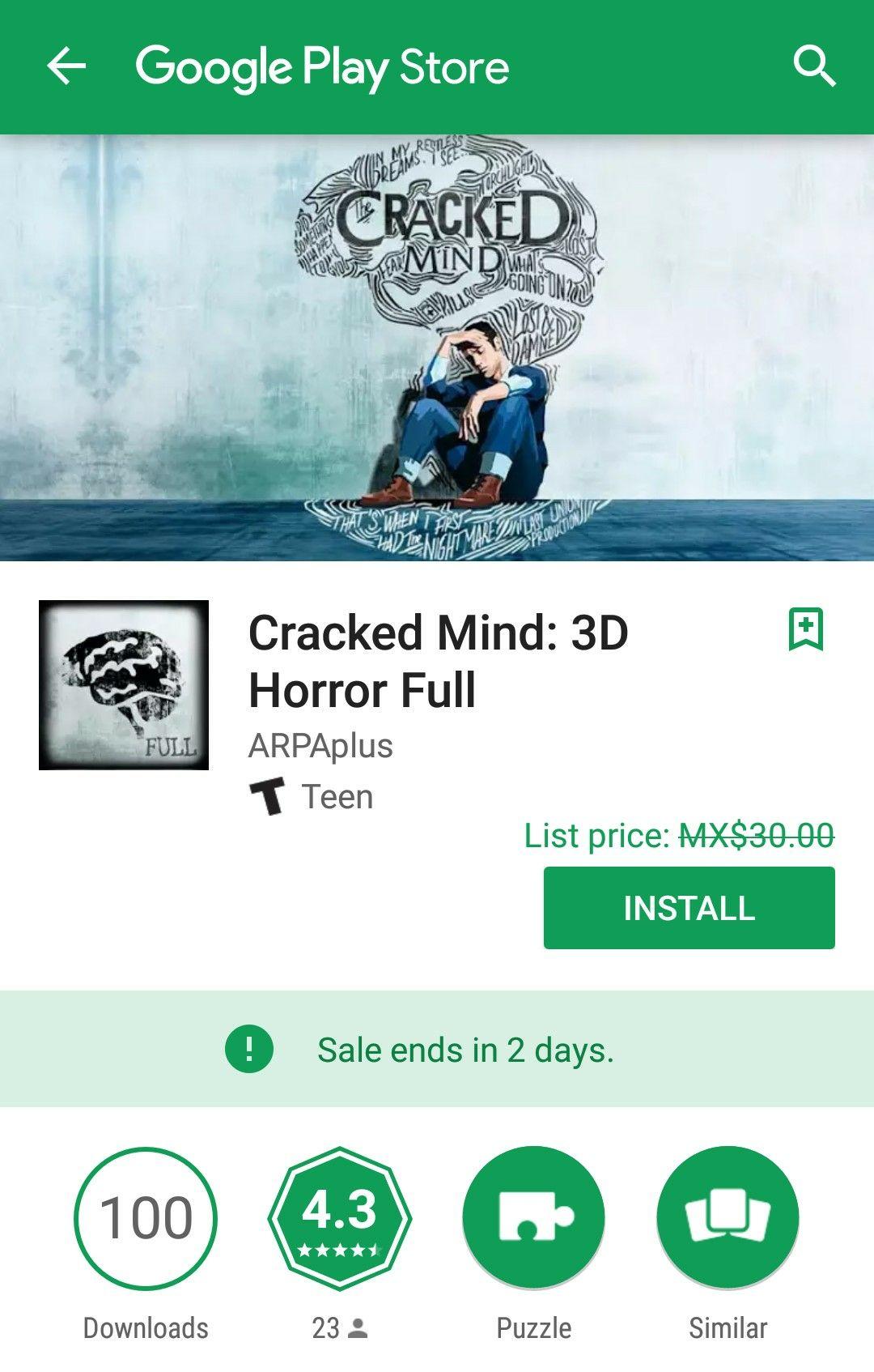 Google Play: Cracked Mind: 3D Horror Full GRATIS (Antes $30)
