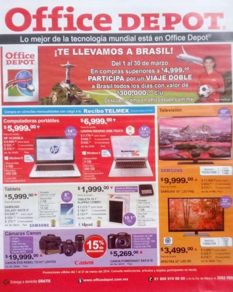Folleto de ofertas en Office Depot para marzo 2014