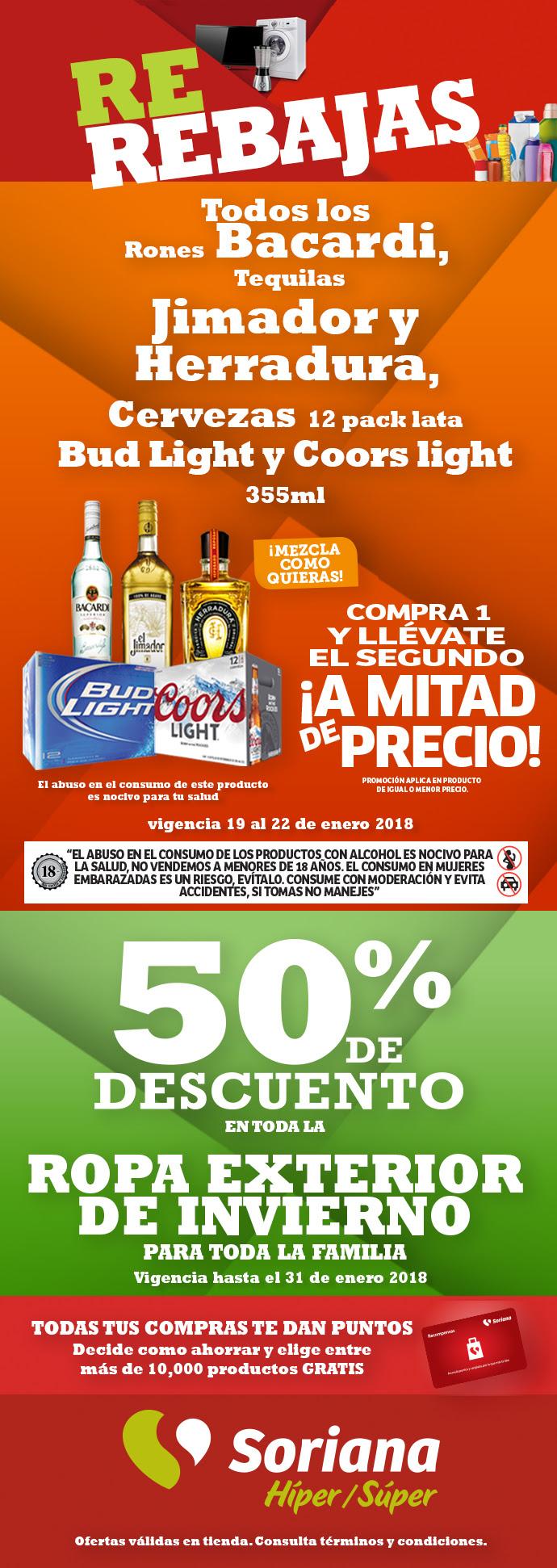 Soriana: tequilas, bacardi y cerveza al 2 * 1 1/2 del 19 al 22 de enero