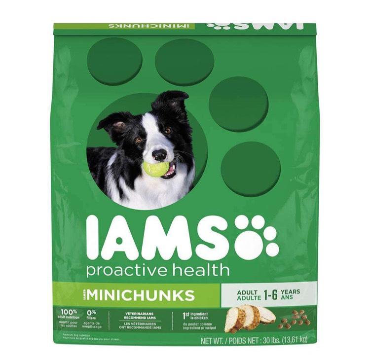 Walmart online: Alimento para perro IAMS Minichunks de 13.61kg de 699 a 359