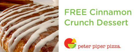 Peter Piper Pizza: ¡Postre crujiente de canela GRATIS por inscribirte al club!