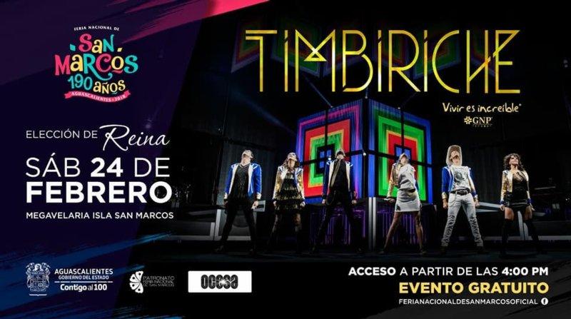 Concierto de Timbiriche Gratis este 24 de febrero en Aguascalientes