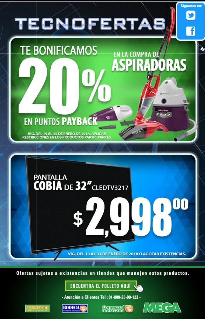 Comercial mexicana y MEGA: 20% de bonificación en aspiradoras