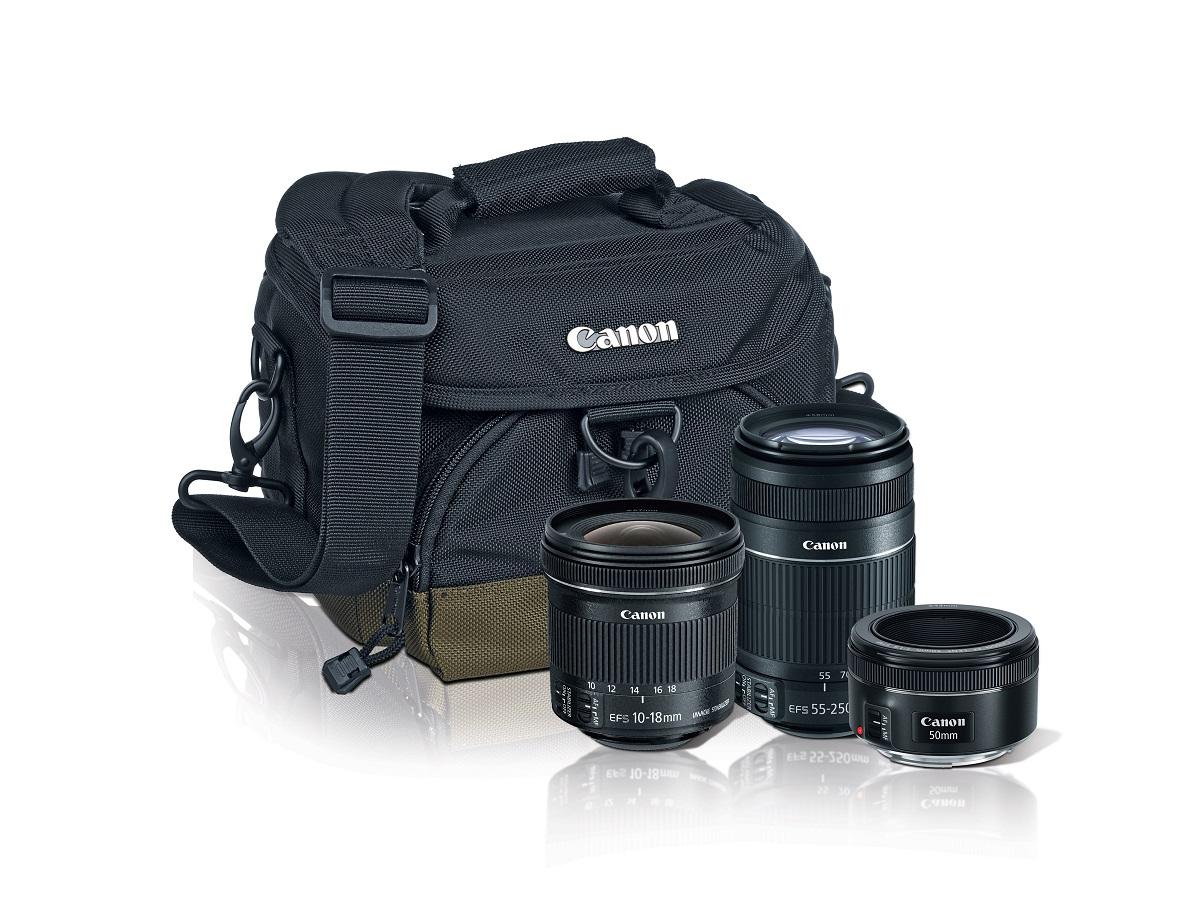 Best Buy en línea: Kit de Lentes Canon 55-250mm + 50mm f/1.8 + 10-18mm + Maleta