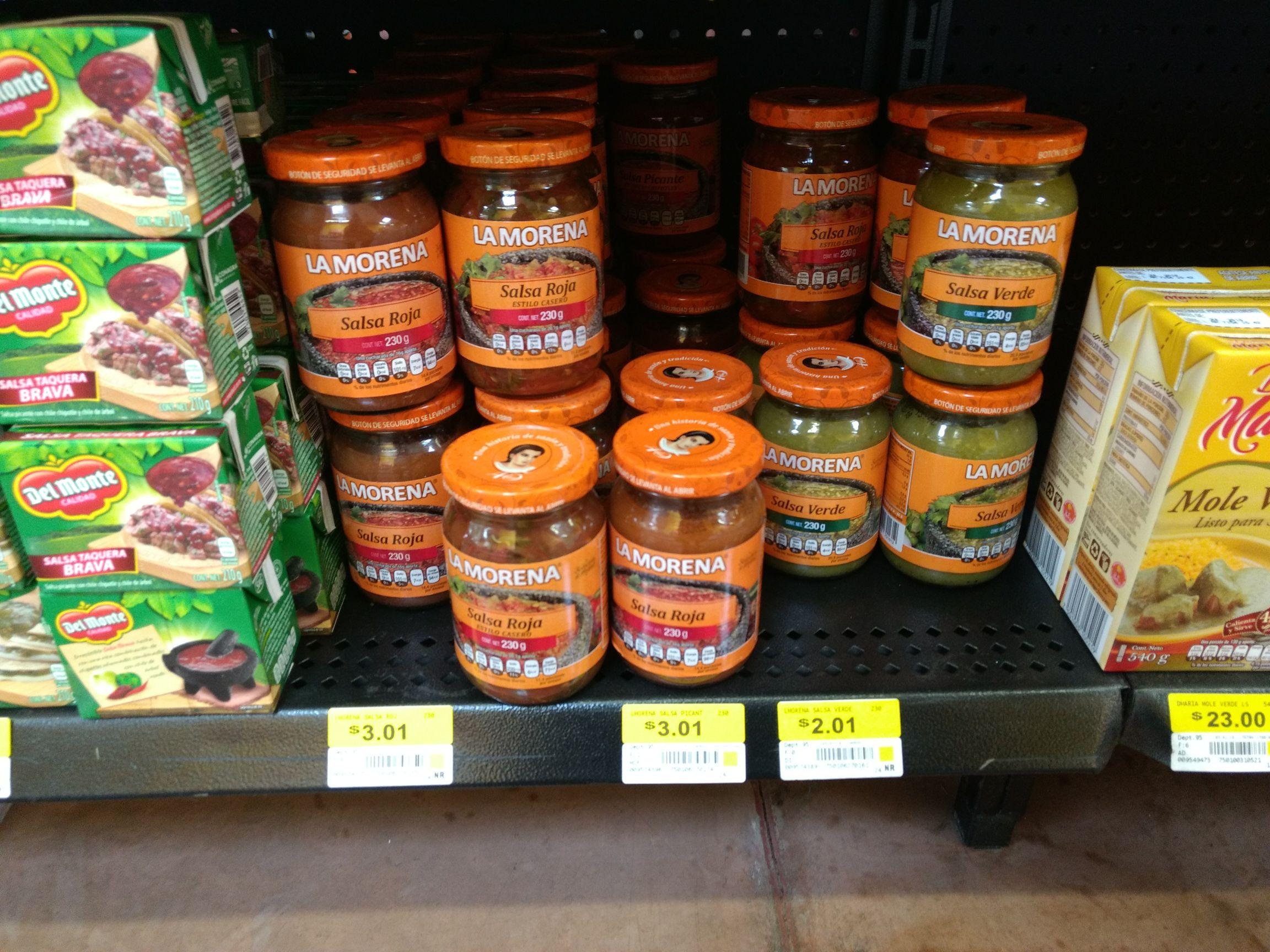 Walmart: Salsas La Morena salsa verde a $2.01, salsa roja y salsa picante (chipotle) a $3.01