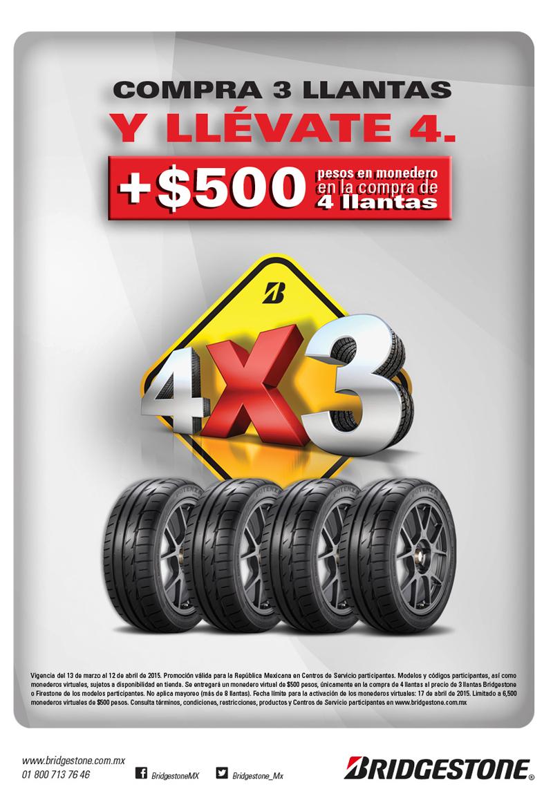 Bridgestone: 4x3 en llantas y $500 en monedero