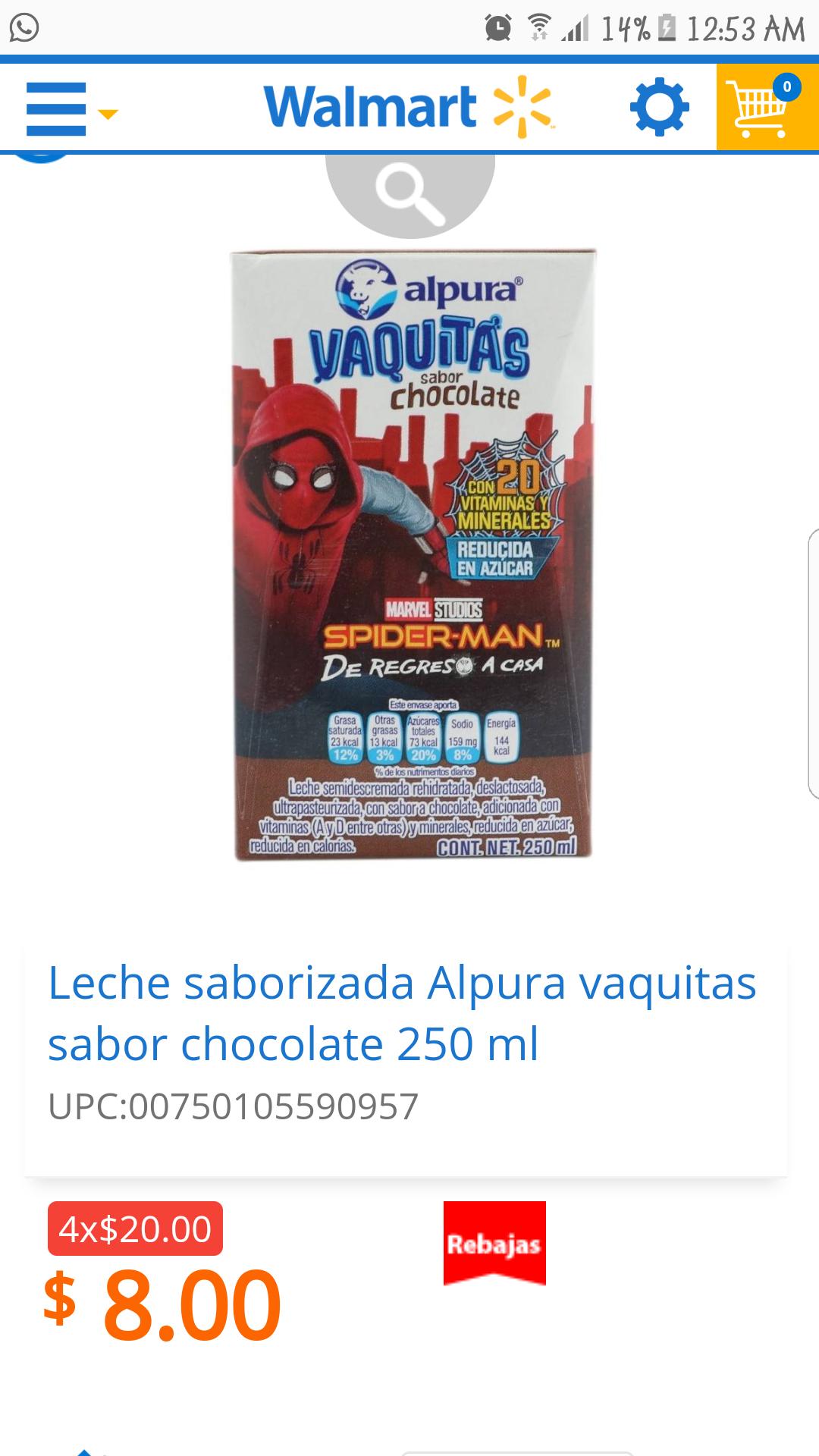 "Walmart en linea: Alpura ""vaquitas"" chocolate y fresa 4x20"