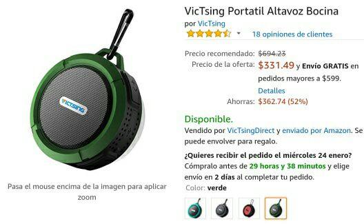 Amazon México: VicTsing Altavoz bocina portátil