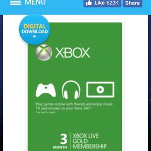 CdKeys: Xbox Live Gold 3 meses