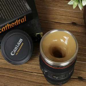 GearBest: Lens Shaped Self Stirring Coffee Mug  -  BLACK