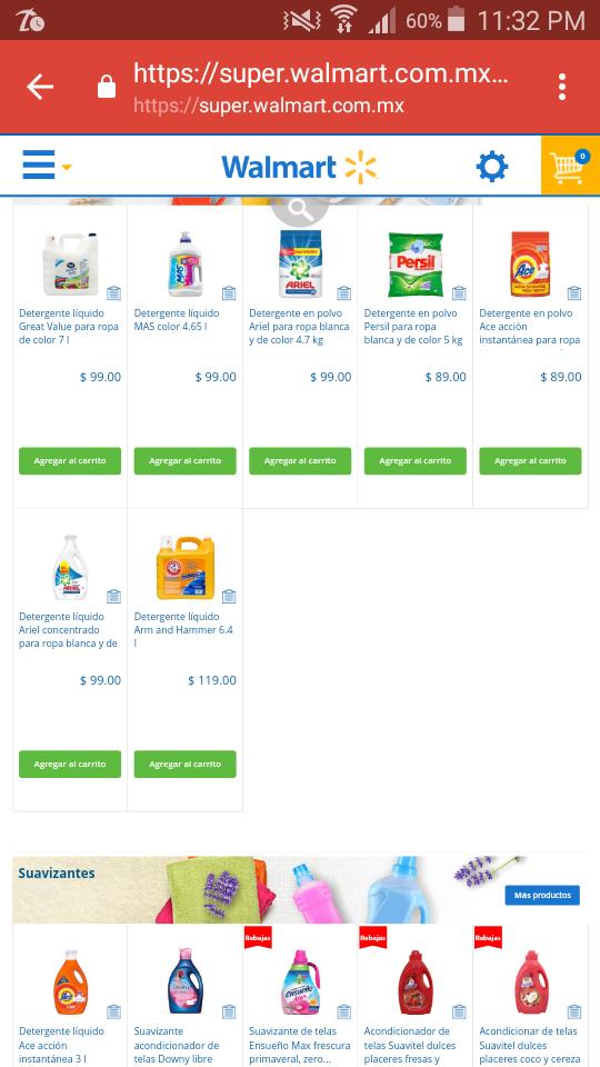 Walmart: detergente persil y ace de 5kg a $89