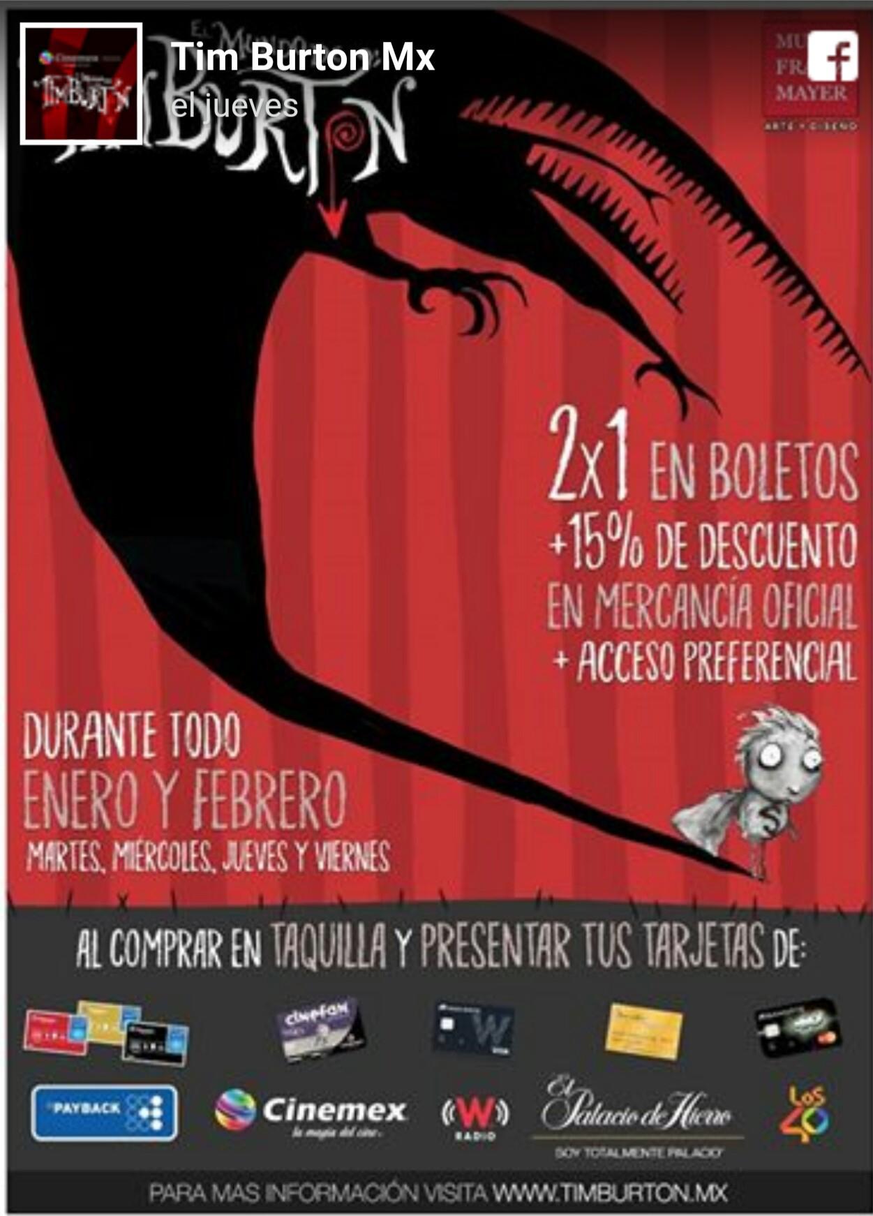 2x1Boletos Expo Tim Burton